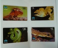AUSTRALIA - PayTel - $5 $10 & $20 - Frilled Lizard, Green Python, Southern Forest Dragon & Velvet Gecko - MINT In Folder - Australia