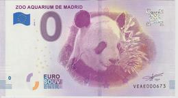 Billet Touristique 0 Euro Souvenir Espagne Zoo Aquarium De Madrid 2018-1 N°VEAE000673 - EURO
