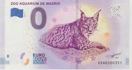 Billet Touristique 0 Euro Souvenir Espagne Zoo Aquarium De Madrid 2018-3 N°VEAE000351 - EURO