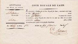 Cour Royale De Caen (14) - Quittance De Mise Au Rôle - 1er Février 1825 - Manuscrits