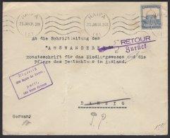 Enveloppe De La Colonie Allemande De BETHLEEM Avec Timbre à 13 M Oblt HAIFA Pour DANZIG + Retour - Palestina