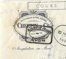 Lettre De Change / Traite 1938 / Rhône COURS / CHERPIN & Cie / Succ Paul DURAND - Cambiali