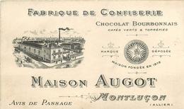 """03 - MONTLUCON - CONFISERIE CHOCOLAT MAISON """"AUGOT""""- CARTE COMMERCIALE ANCIENNE ILLUSTREE (7,5 X 12 Cm) - Montlucon"""