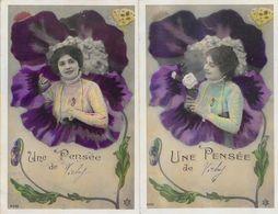 Fantaisie, Femme Dans Une Fleur - Une Pensée De (Vichy) - Lot De 2 Cartes P.C. Série N° 4303 - Femmes