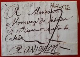19467# SEINE MARITIME LETTRE Obl HAVRE 1784 Lenain 9 Pour AVIGNON VAUCLUSE Cote 60 € - Marcofilie (Brieven)