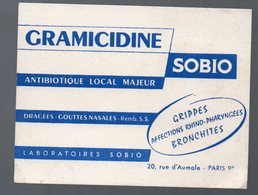 Paris Rue D'Aumale : Buvard GRAMICIDINE SOBIO (pharmacie) (PPP15009) - Chemist's