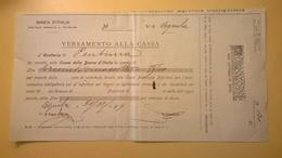 1919 VERSAMENTO TAGLIANDO RICEVUTA ASSICURAZIONE CASSA NAZIONALE INFORTUNI LAVORO SEDE L' AQUILA - Banca & Assicurazione