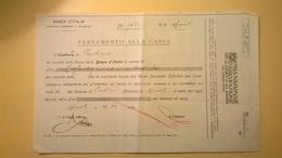 1920 VERSAMENTO TAGLIANDO RICEVUTA ASSICURAZIONE CASSA NAZIONALE INFORTUNI LAVORO SEDE L' AQUILA - Banque & Assurance