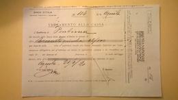 1920 VERSAMENTO TAGLIANDO RICEVUTA ASSICURAZIONE CASSA NAZIONALE INFORTUNI LAVORO SEDE L' AQUILA - Banca & Assicurazione