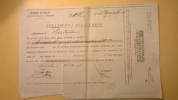 1921 VERSAMENTO TAGLIANDO RICEVUTA ASSICURAZIONE CASSA NAZIONALE INFORTUNI LAVORO SEDE L' AQUILA - Banca & Assicurazione