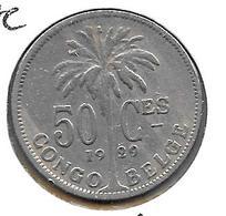 *belgian Congo 50  Centimes 1929/28 French Vf - Congo (Belgian) & Ruanda-Urundi
