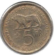*belgian Congo 5 Francs  1936  Km 24 Vf - Congo (Belge) & Ruanda-Urundi
