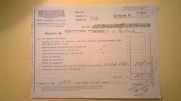 1924 VERSAMENTO TAGLIANDO RICEVUTA ASSICURAZIONE CASSA NAZIONALE INFORTUNI LAVORO SEDE L' AQUILA - Banca & Assicurazione