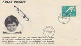 Enveloppe  NORVEGE  Fusée  Au - Dessus  Du  POLE  NORD     ANDENES   1962 - Polar Flights