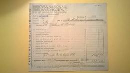 1922 VERSAMENTO TAGLIANDO RICEVUTA ASSICURAZIONE CASSA NAZIONALE INFORTUNI LAVORO SEDE L' AQUILA - Banca & Assicurazione