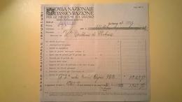 1922 VERSAMENTO TAGLIANDO RICEVUTA ASSICURAZIONE CASSA NAZIONALE INFORTUNI LAVORO SEDE L' AQUILA - Banque & Assurance