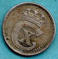RARE / DANEMARK 25 Ore 1914 Km#815.1 Initials VBP - GJ  Silver / Argent RARE - Denmark