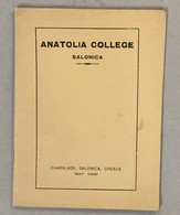 TURKEY  GREECE  ANATOLIA COLLEGE  SALONIQUE CHARILOS - Histoire