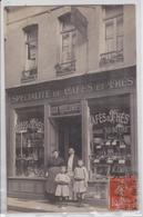 """Devanture Carte-photo Magasin """"Aux Colonies"""" Café Et Thé Marque """"Au Nègre"""" A Situer Saint-Quentin Aisne Pour Le Cateau - Postcards"""