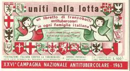 """1061 """" LIBRETTO FRANCOBOLLI ANTITUBERCOLARI-XXVI CAMPAGNA NAZIONALE DEL 1963 """" FOLDER ORIGINALE - Erinnophilie"""