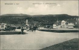 Ansichtskarte Mittenwald Bahnhofstraße - Fuhrwerk 1918 - Mittenwald