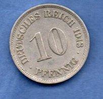 Allemagne  -  10 Pfennig 1913 J  -  Km # 12  -  état  TTB+ - [ 2] 1871-1918: Deutsches Kaiserreich