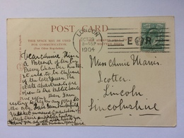 GB - Edward VII Postcard With E CROWN R Postmark 1904 On Kensington Palace Photo - The Wrench Series No.4380 - Lettres & Documents