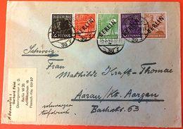 Berlin 1949: Schwarz-Aufdruck Mi 1-4+9 Als 5-Farben-Frankatur Mit O BERLIN 14.3.49 Nach Aarau / Schweiz - Briefe U. Dokumente