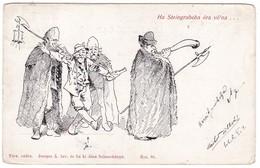 8746 Comic Hungarian Postcard Mailed 1914: Joyful Drunk - Comics