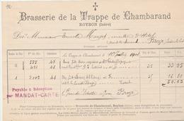 ROYBON (Isère) : Facture De La Brasserie De La Trappe De Chambarand Pour Le Maître D'Hôtel Et Le Curé De Broye (Saône Et - France