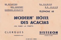 04- Clergues Modern'Hôtel Des Acacias...Sisteron.. (Alpes De Haute Provence) - Sports & Tourism
