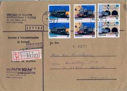 1991 , PORTUGAL , CERTIFICADO LISBOA - MALMÖE , DIRECÇAO DE RELAÇOES INTERNACIONAIS E FILATELIA , TRENES , FERROCARRIL - Cartas