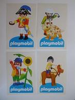 Autocollant Jouet Jeu PLAYMOBIL - Lot De 4 Autocollants Playmobil Le Corsaire, Le Vétérinaire, Le Clown Et Le Cavalier - Autocollants