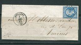Lettre Du 7 Décembre 1862 De DOULLENS (76)- Y&T N°22- PC 1134 - Storia Postale
