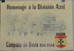 JK752 SPAIN ESPAÑA POSTER 42x29 Cm. WWII. DIVISION AZUL RUSSIA. SOLDADOS, TANK SOLDIER. - 1939-45