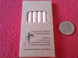 CAJA CON 6 LÁPICES DE COLORES PUBLICIDAD FESTIVAL DEL TÍTERE ECIJA SPAIN CIUDAD SOL TITIRITERO PUPPET PENCILS BOX ESPAÑA - Fiestas & Eventos