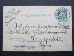GANZSACHE Prag - Prerau Bahnpost Zugstempel  Korrespondenzkarte 1907 /// D*34074 - 1850-1918 Imperium