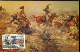 37990 U.s.a. Maximum 1968  Painting Of Marion Russel, Jerked Down, Cowboy Scene, American History - Maximumkarten (MC)