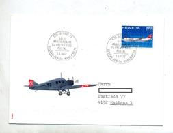 Lettre Vol Anniversaire Geneve Zurich Nuremberg - Airplanes