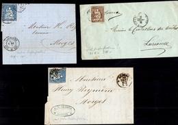 Suisse Six Lettres Entières Affranchies Avec Helvetia Non-dentelés 1855/1862. Beau Lot! A Saisir! - Lettres & Documents