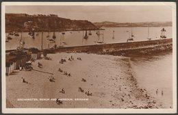 Breakwater, Beach And Harbour, Brixham, Devon, C.1940s - Millar & Lang RP Postcard - England