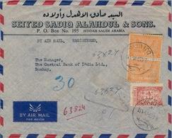 1953 , ARABIA SAUDITA , SOBRE CERTIFICADO ENTRE JEDDAH Y BOMBAY , LLEGADA , CORREO AÉREO - Arabia Saudita