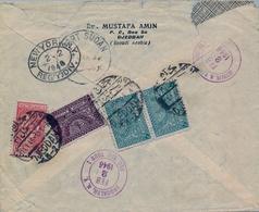 1946 , ARABIA SAUDITA , SOBRE CERTIFICADO ENTRE JEDDAH Y BROOKLYN , LLEGADA , CORREO AÉREO - Arabia Saudita