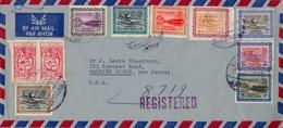 1963 , ARABIA SAUDITA , SOBRE CERTIFICADO ENTRE DJEDDAH Y NEW JERSEY , CORREO AÉREO , LLEGADA - Arabia Saudita