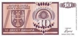 Bosnia P.133 10 Dinars  1992 Unc - Bosnia Erzegovina