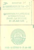 """CARNET 2155-C 4 Sabine """"PHILEXFRANCE"""" Carnet De 20 Timbres Fermé Daté 31/8/81 (bas). Parfait état Bas Prix RARE - Libretas"""