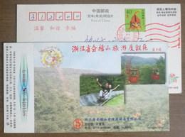 Boblet Sliding,Cable Car,China 1998 Mt.Kuaijishan Tourism Resort Area Advertising Pre-stamped Card - Holidays & Tourism