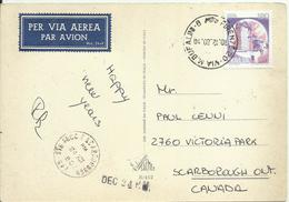 CS52-Cartolina 5 Parole Posta Aerea Per Il Canada Con 180 £ Castelli 10.12.1980 - Rarissima - 1946-.. République