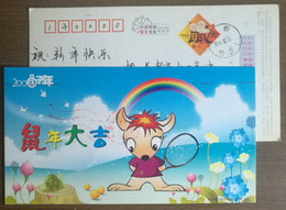 Tennis Bat,snail,rainbow,cartoon Rat,China 2008 Lunar New Year Of Rat New Year Greeting Postal Stationery Card - Tennis
