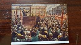 """Russie, LENIN IN ART. USSR. SOVIET PROPAGANDA.  """"Lenin Speaking"""" By Brodsky. OLD USSR PC 1950s - Russia"""